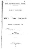 List by Counties of Newspapers and Periodicals PDF