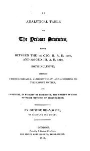 An Analytical Table of the Private Statutes Book