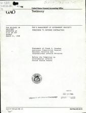 DOD's management of government property furnished to defense contractors: statement of Frank C. Conahan, Assistant Comptroller General, National Security and International Affairs Division, before the Committee on Governmental Affairs, United States Senate