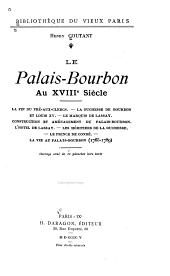 Le Palais-Bourbon au XVIIIe siècle