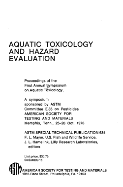 Aquatic Toxicology and Hazard Evaluation PDF