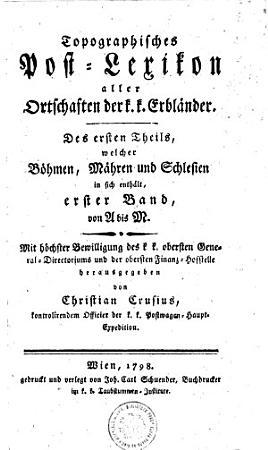 Topografisches Post Lexicon aller Ortschaften der k  k   Erbl  nder PDF