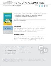 Implementing Evidence-Based Prevention by Communities to Promote Cognitive, Affective, and Behavioral Health in Children: Proceedings of a Workshop