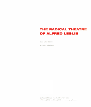 The Radical Theatre of Alfred Leslie PDF