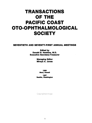 Transactions of the Pacific Coast Oto Ophthalmological Society PDF