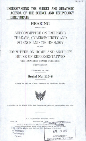 Understanding the Budget and Strategic Agenda of the Science and Technology Directorate