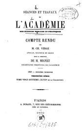Séances et travaux de l'Académie des Sciences Morales et Politiques: Volume48