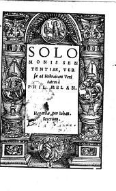 Solomonis Sententiae