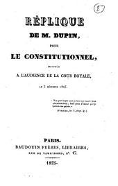 """Réplique pour """"le Constitutionnel"""""""