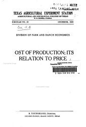 Cost of Production: Its Relation to Price