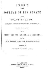 Appendix to the Journal of the Senate of the State of Ohio, for the 2d Session of the 52d General Assembly and the 5th Session Under the New Constitution, Commencing Monday Jan. 5, 1857