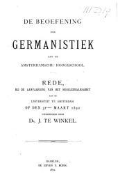 De beoefening der Germanistiek aan de Amsterdamsche hoogeschool