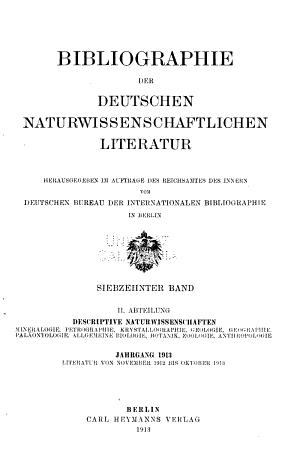 Bibliographie Der Deutschen Naturwissenschaftlichen Litteratur  Abt II PDF