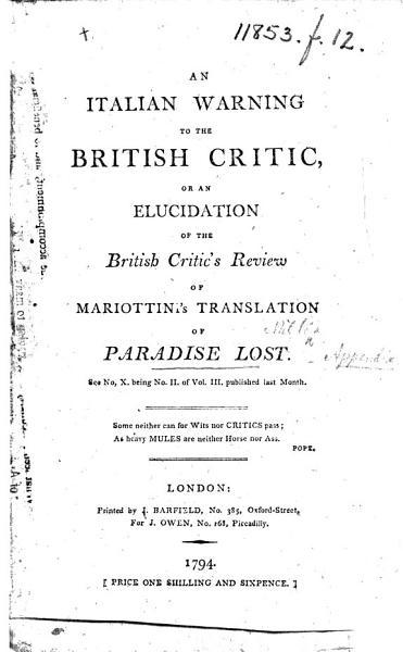 An Italian Warning To The British Critic