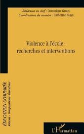 Violence à l'école : Recherches et interventions