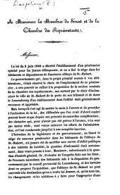 A Messieurs les Membres du Sénat et de la Chambre des Représentants. (Mémoire sur l'établissement du Pénitencier Central pour les jeunes délinquants.).