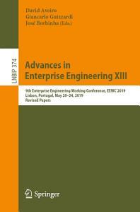 Advances in Enterprise Engineering XIII PDF