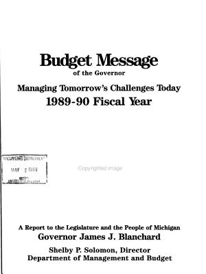 Budget Message of the Governor PDF