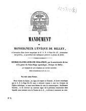 Mandement de Monseigneur l'évêque de Belley, à l'occasion d'une lettre encyclique de N.S.P. le Pape Pie IX, demandant des prières, et accordant une indulgence plénière en forme de jubilé