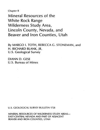 Mineral Resources of the Clover Mountains Wilderness Study Area  Lincoln County  Nevada PDF