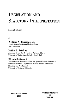 Legislation and Statutory Interpretation
