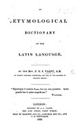 An Etymological Dictionary of the Latin Language PDF