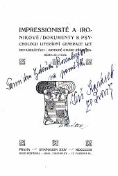 Impressionisté a ironikové, dokumenty k paychologii literární generace let devadesátých: kritické studie