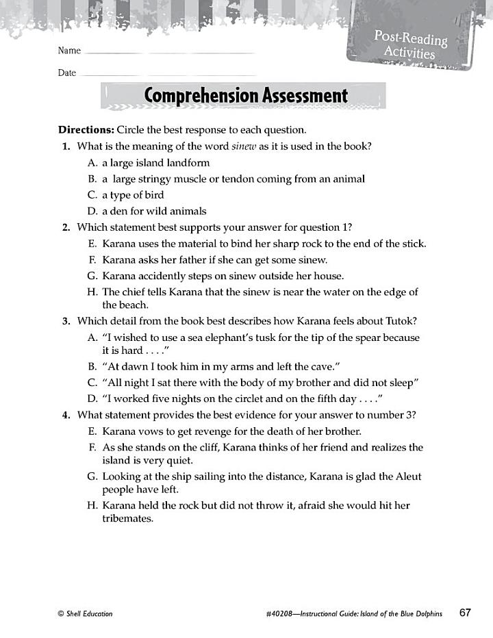Island of the Blue Dolphins Comprehension Assessment