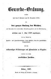 Gewerbe-Ordnung, erlassen mit dem k. Patente vom 20. Dezember 1859, wirksam vom 1. Mai 1860 angefangen