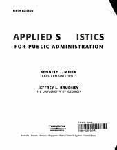 Applied Statistics for Public Administration PDF
