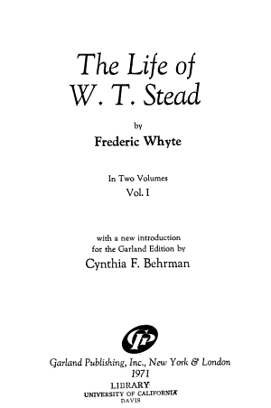 The Life Of W T Stead