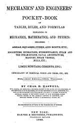 Mechanics' and Engineers' Pocketbook of Tables, Rules, and Formulas Pertaining to Mechanics, Mathematics, and Physics ...