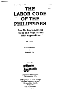 The Labor Code of the Philippines and Its Implementing Rules and Regulations PDF