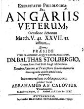 Exercitatio philol. de angariis Veterum