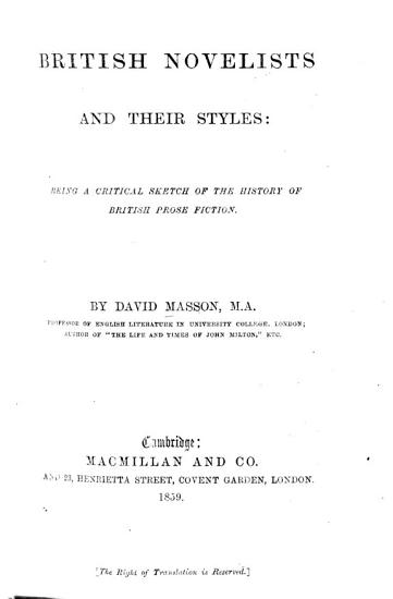 British Novelists and Their Styles PDF