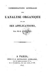 Considérations générales sur l'analyse organique et sur ses applications