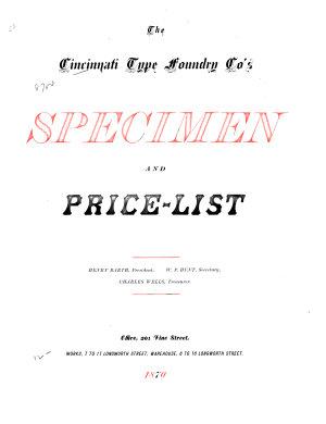 The Cincinnati Type Foundry Co s Specimen and Price list