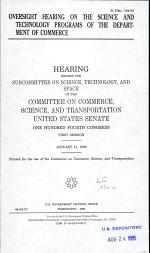Oversight Hearing on the Science and Technology Programs of the Department of Commerce