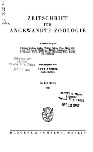 Zeitschrift F  r Angewandte Zoologie
