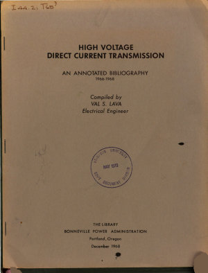 High Voltage Direct Current Transmission  an Annotated Bibliography  1966 1968 PDF