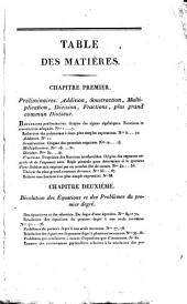 Traité d'algèbre: a l'usage des élèves qui se destinent a l'École royale polytechnique et des élèves de l'École spéciale militaire