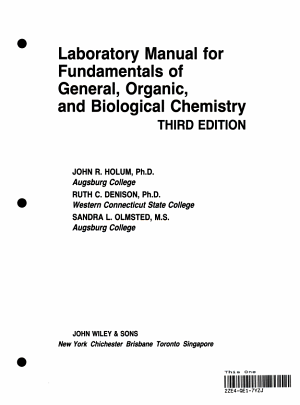Laboratory Manual for Fundamentals of General  Organic  and Biological Chemistry  Third Edition PDF