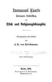 Kleinere Schriften zur Ethik und Religionsphilosophie