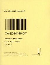 California. Court of Appeal (4th Appellate District). Division 2. Records and Briefs: E014149, Other