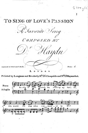 To Sing of Love's Passion. A Favorite Song