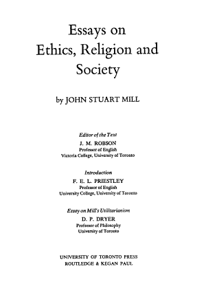 Essays on ethics, religion and society