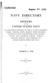 Navy directory: officers of the United States Navy and Marine Corps, also including officers of the United States Naval Reserve, active, Marine Corps Reserve, active, and foreign officers serving with the Navy