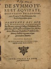 De Svmmo Ivre Et Aeqvitate, Dispvtatio Philosophicae: ex X. capite V. libri Ethicorum Aristotelis deprompta