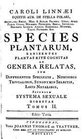 Caroli Linnæi ... Species plantarum: exhibentes plantas rite cognitas ad genera relatas, cum differentiis specificis, nominibus trivialibus, synonymis selectis, locis natalibus, secundum systema sexuale digestas