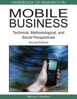 Handbook of Research in Mobile Business  Second Edition  Technical  Methodological and Social Perspectives PDF
